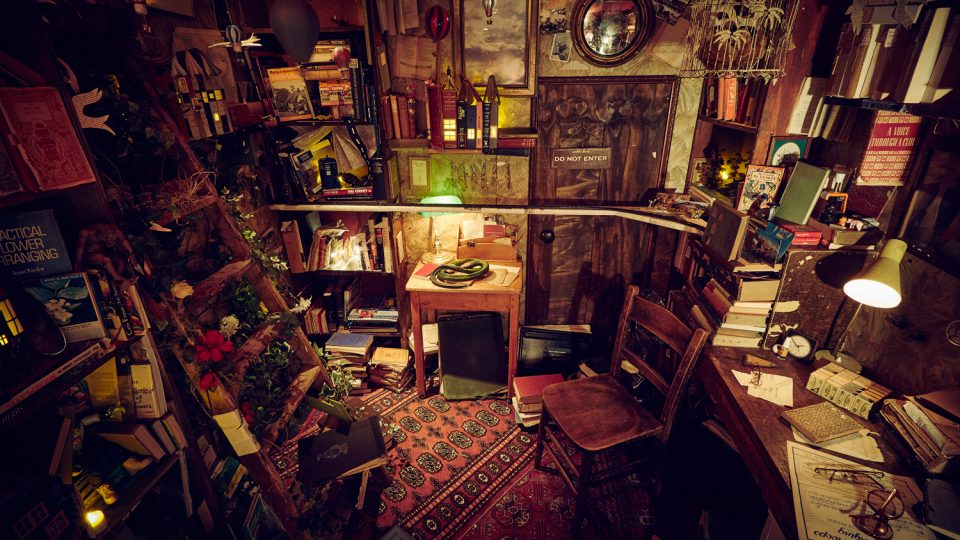 Dimly lit room full of books and various bric-a-brac