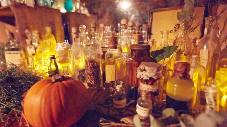 Close up of a pumpkin and various glass bottles on a table