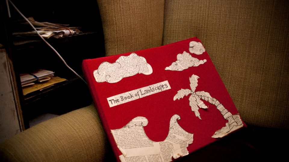 A red book titled 'The Book of Landscapes' in an armchair.