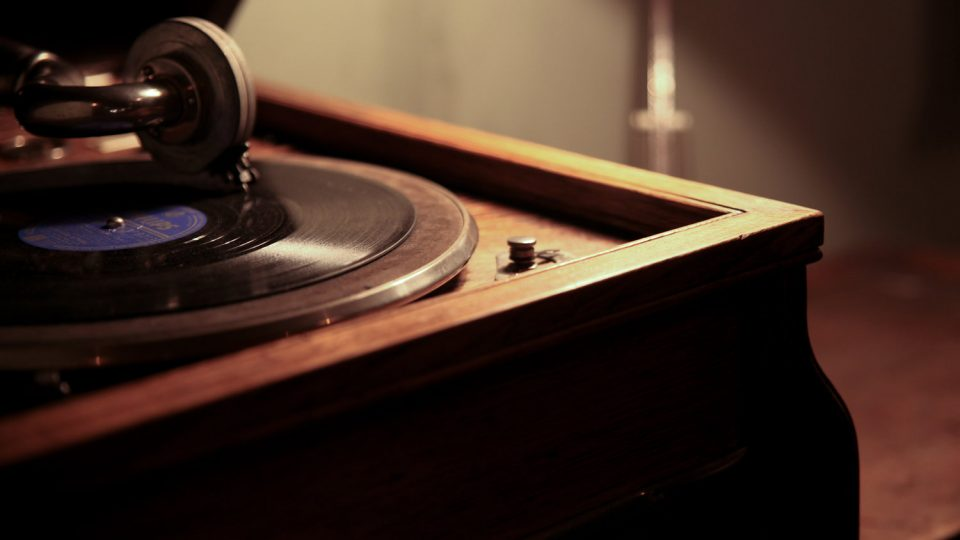 Close up of a record player